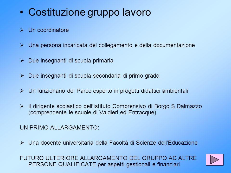 Costituzione gruppo lavoro Un coordinatore Una persona incaricata del collegamento e della documentazione Due insegnanti di scuola primaria Due insegn