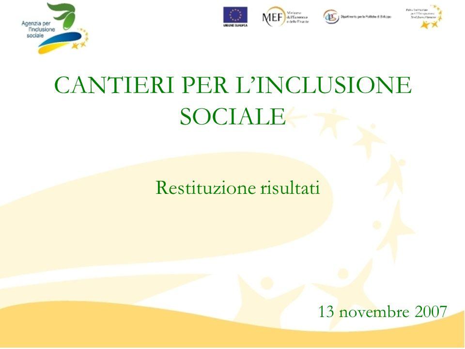 CANTIERI PER LINCLUSIONE SOCIALE Restituzione risultati 13 novembre 2007