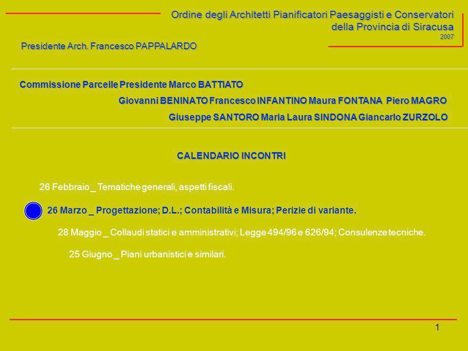 1 Ordine degli Architetti Pianificatori Paesaggisti e Conservatori della Provincia di Siracusa 2007 Presidente Arch. Francesco PAPPALARDO Ordine degli