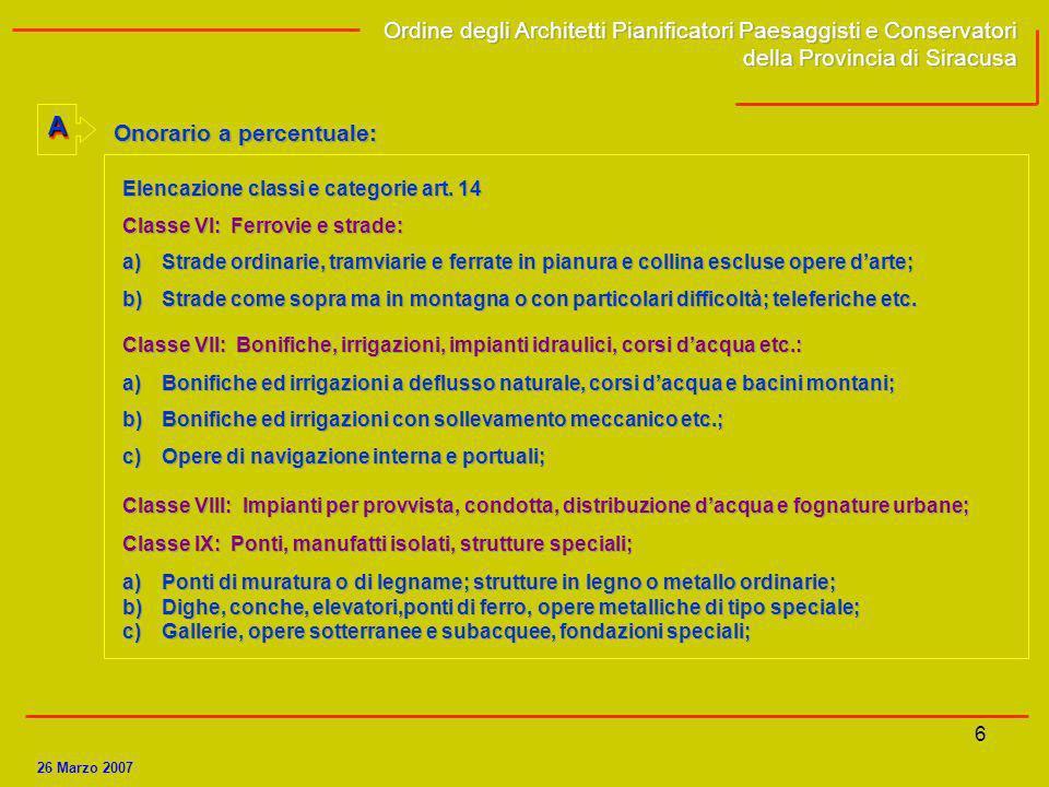 7 2 TABELLA A (Legge 143/1949) INCARICO DI PROGETTAZIONE.
