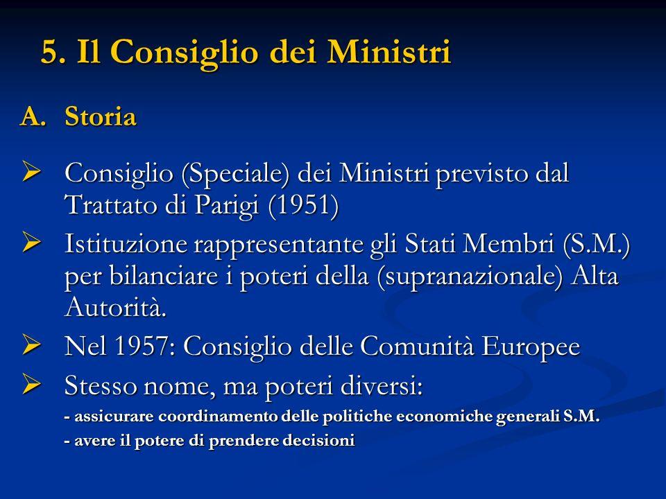 5. Il Consiglio dei Ministri A.Storia Consiglio (Speciale) dei Ministri previsto dal Trattato di Parigi (1951) Consiglio (Speciale) dei Ministri previ