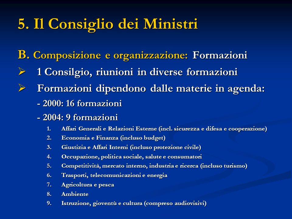 5. Il Consiglio dei Ministri B. Composizione e organizzazione: Formazioni 1 Consilgio, riunioni in diverse formazioni 1 Consilgio, riunioni in diverse