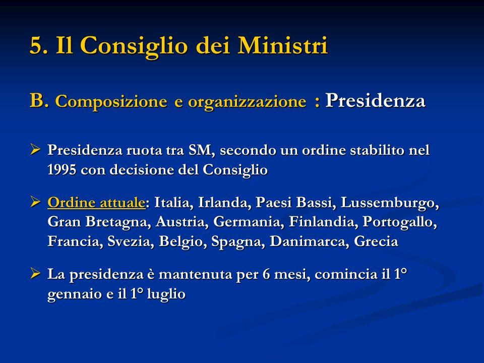 5. Il Consiglio dei Ministri B. Composizione e organizzazione : Presidenza Presidenza ruota tra SM, secondo un ordine stabilito nel 1995 con decisione