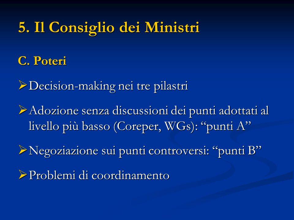5. Il Consiglio dei Ministri C. Poteri Decision-making nei tre pilastri Decision-making nei tre pilastri Adozione senza discussioni dei punti adottati
