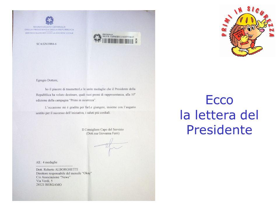 Ecco la lettera del Presidente