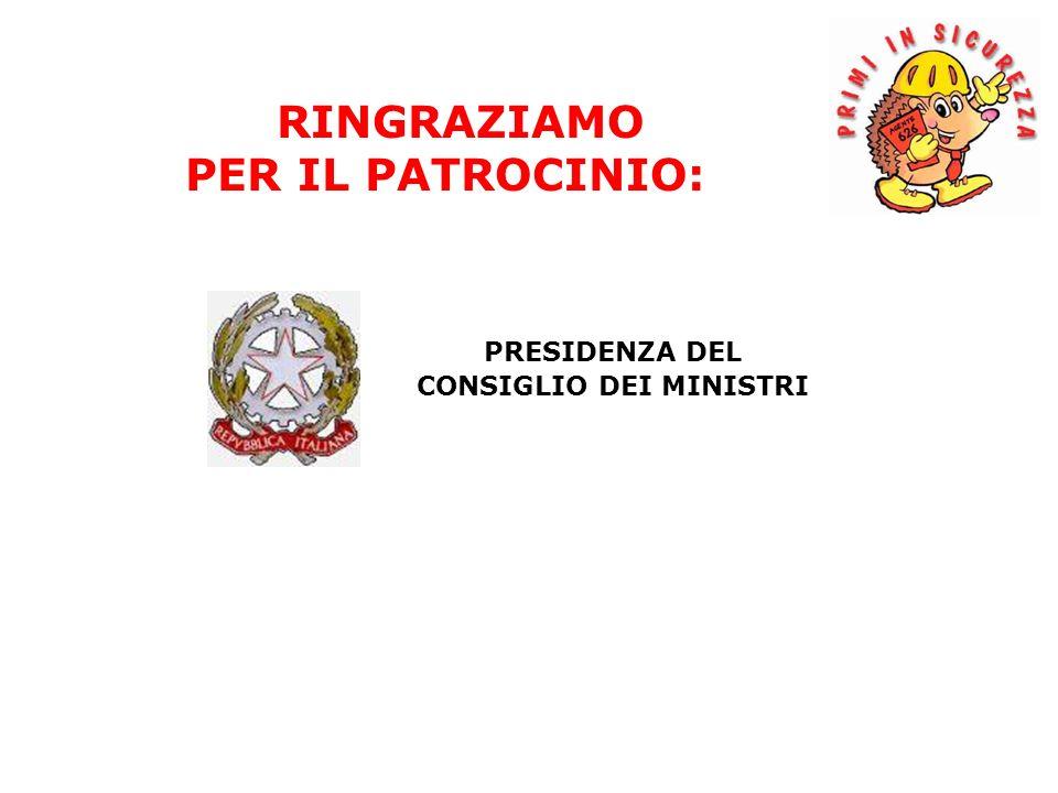PRESIDENZA DEL CONSIGLIO DEI MINISTRI RINGRAZIAMO PER IL PATROCINIO: