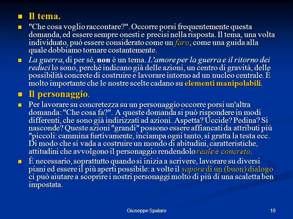 10Giuseppe Spataro Il tema. Il tema.