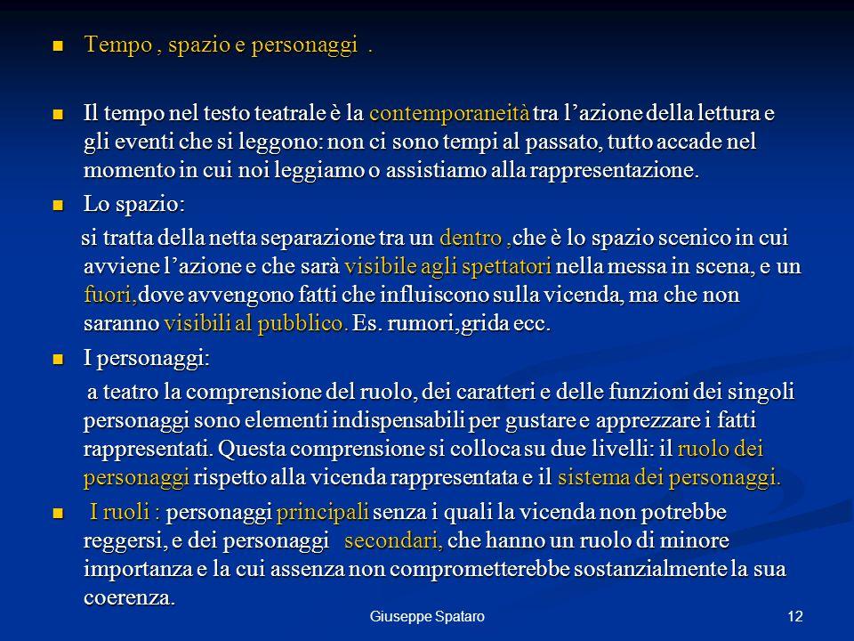12Giuseppe Spataro Tempo, spazio e personaggi. Tempo, spazio e personaggi. Il tempo nel testo teatrale è la contemporaneità tra lazione della lettura