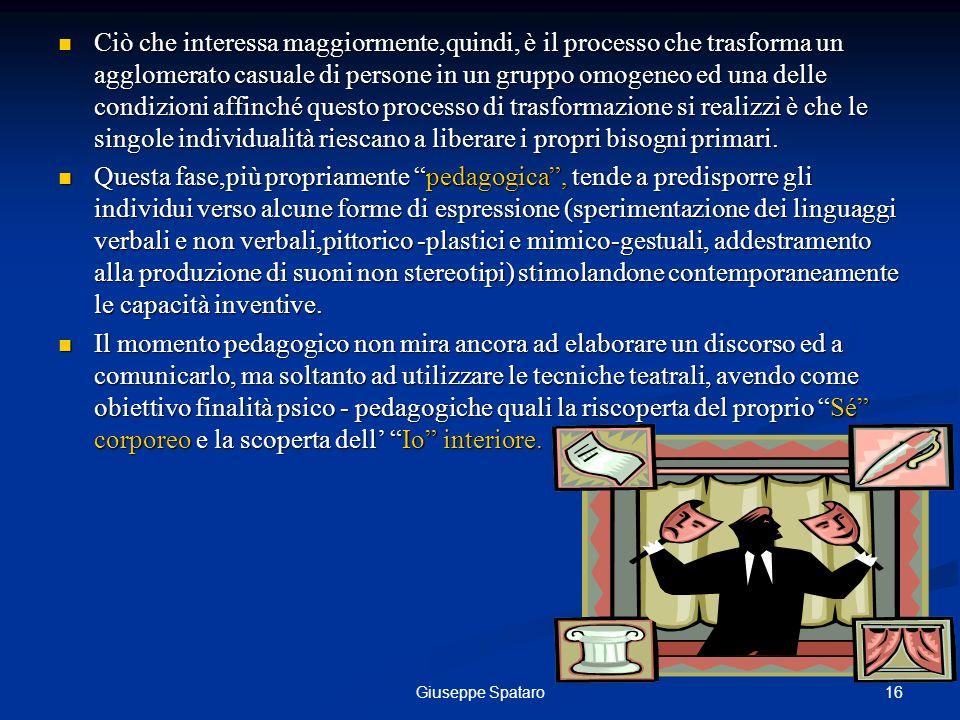 16Giuseppe Spataro Ciò che interessa maggiormente,quindi, è il processo che trasforma un agglomerato casuale di persone in un gruppo omogeneo ed una d