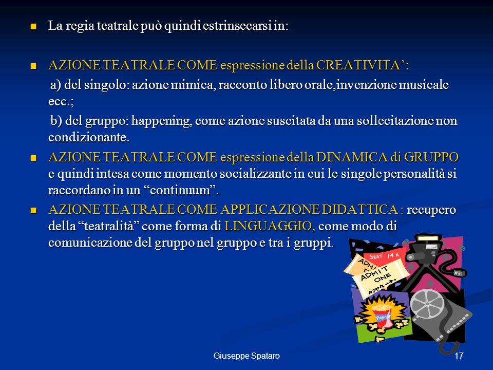 17Giuseppe Spataro La regia teatrale può quindi estrinsecarsi in: La regia teatrale può quindi estrinsecarsi in: AZIONE TEATRALE COME espressione dell