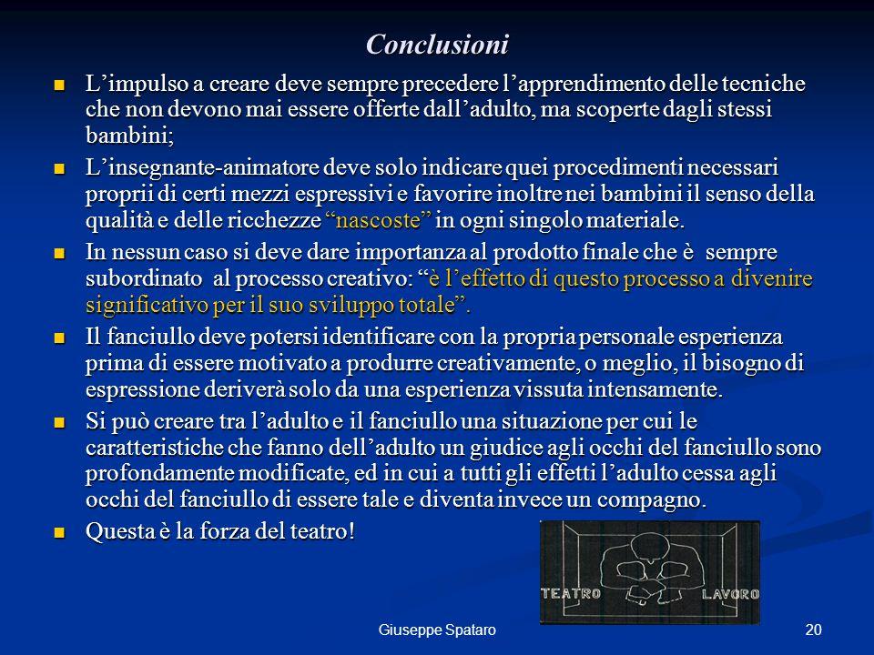 20Giuseppe Spataro Conclusioni Limpulso a creare deve sempre precedere lapprendimento delle tecniche che non devono mai essere offerte dalladulto, ma