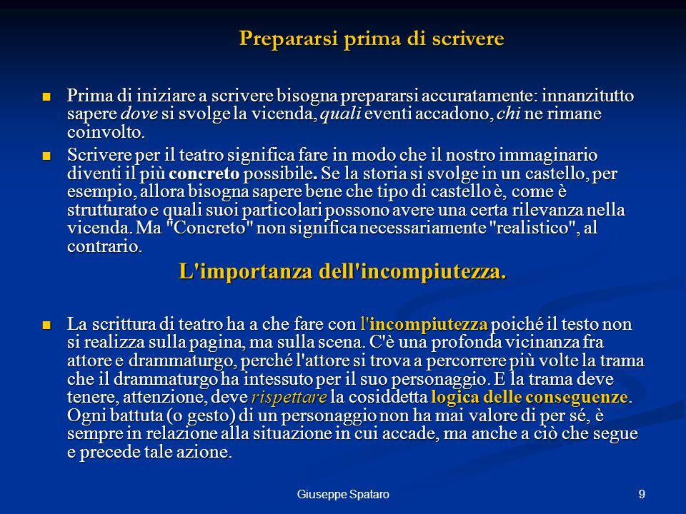 9Giuseppe Spataro Prima di iniziare a scrivere bisogna prepararsi accuratamente: innanzitutto sapere dove si svolge la vicenda, quali eventi accadono,