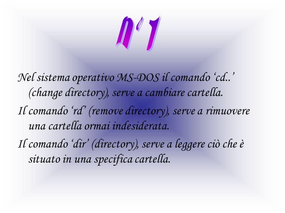 Nel sistema operativo MS-DOS il comando cd.. (change directory), serve a cambiare cartella. Il comando rd (remove directory), serve a rimuovere una ca
