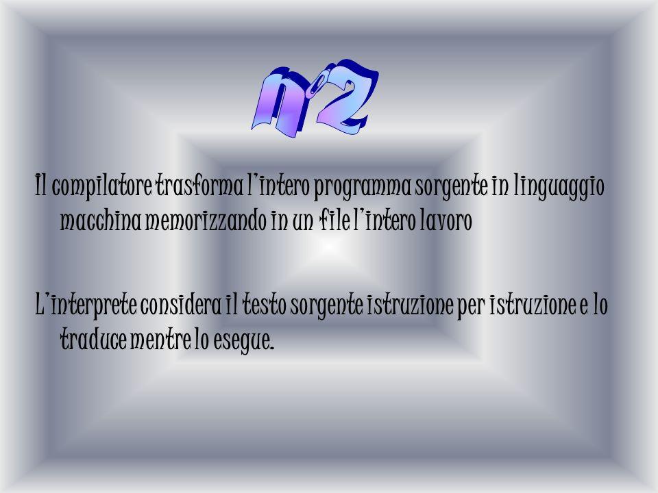 Il compilatore trasforma lintero programma sorgente in linguaggio macchina memorizzando in un file lintero lavoro Linterprete considera il testo sorgente istruzione per istruzione e lo traduce mentre lo esegue.