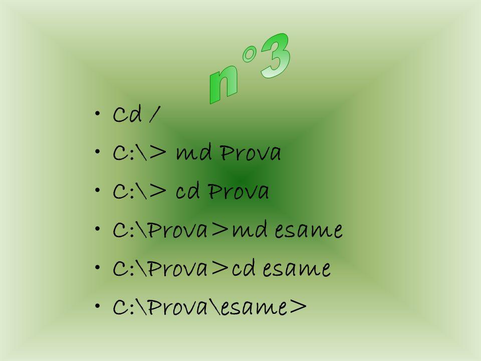 Cd / C:\> md Prova C:\> cd Prova C:\Prova>md esame C:\Prova>cd esame C:\Prova\esame>