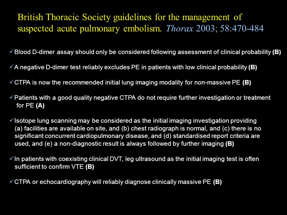 British Thoracic Society guidelines for the management of suspected acute pulmonary embolism. Thorax 2003; 58:470-484 Blood D-dimer assay should only