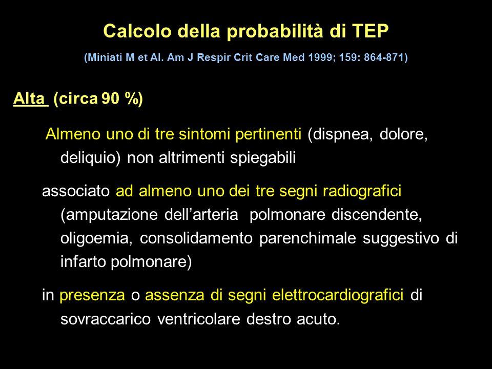 Calcolo della probabilità di TEP (Miniati M et Al. Am J Respir Crit Care Med 1999; 159: 864-871) Almeno uno di tre sintomi pertinenti (dispnea, dolore