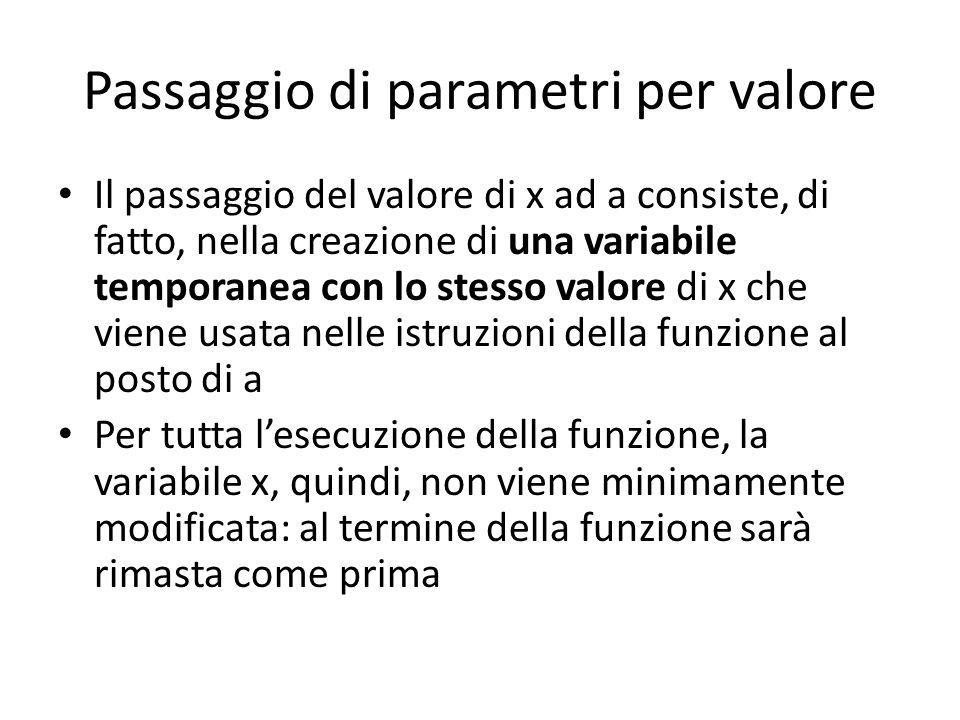 Passaggio di parametri per valore Il passaggio del valore di x ad a consiste, di fatto, nella creazione di una variabile temporanea con lo stesso valo
