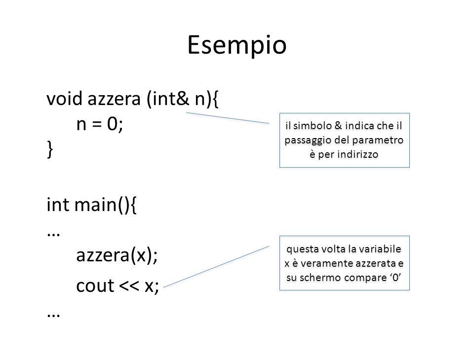 Esempio void azzera (int& n){ n = 0; } int main(){ … azzera(x); cout << x; … il simbolo & indica che il passaggio del parametro è per indirizzo questa