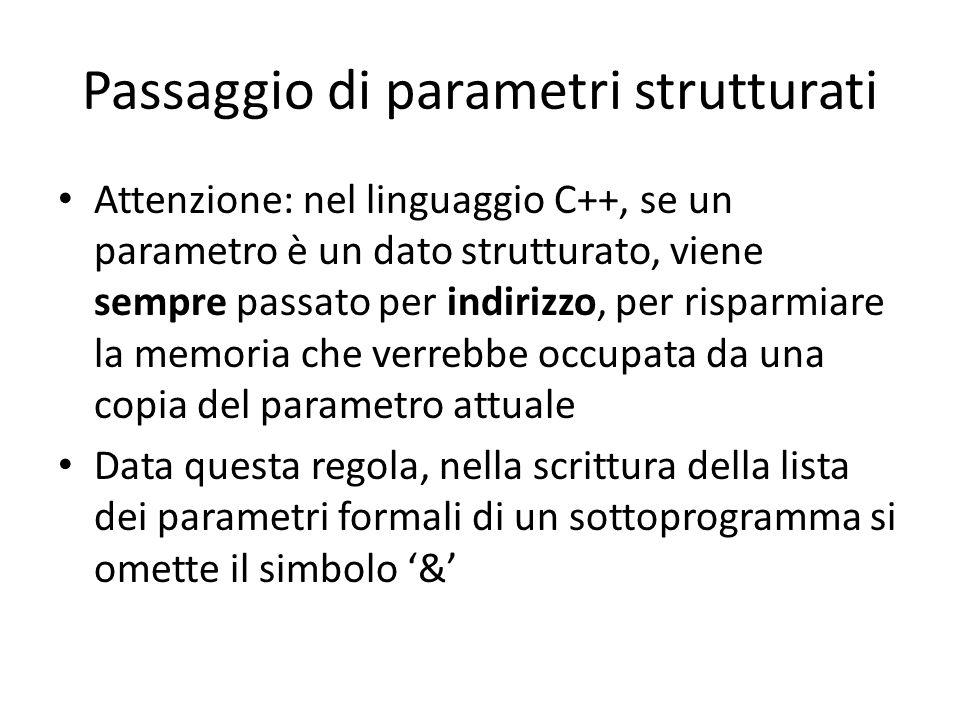 Passaggio di parametri strutturati Attenzione: nel linguaggio C++, se un parametro è un dato strutturato, viene sempre passato per indirizzo, per risp