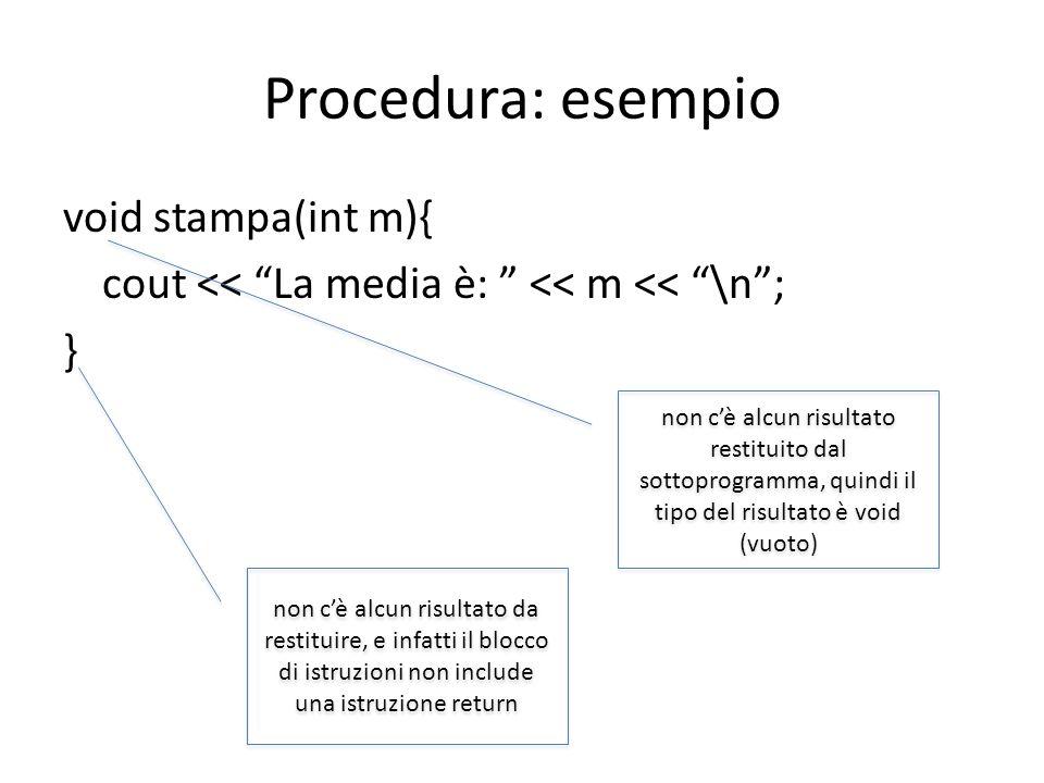 Uso della funzione e della procedura nel programma finale … float media (int a, int b, int c){ int somma = a + b + c; float risultato = somma/3; return risultato; } void stampa(int m){ cout << La media è: << m << \n; } int main(){ int x,y,z; float r; cout << inserisci 3 numeri:\n; cin >> x >> y >> z; r = media(x,y,z); stampa(r); … } il risultato restituito dalla funzione va salvato in una variabile lesecuzione di una procedura, invece, non prevede alcun risultato se non leffetto delle istruzioni che la compongono