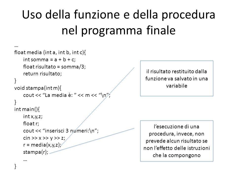 Uso della funzione e della procedura nel programma finale … float media (int a, int b, int c){ int somma = a + b + c; float risultato = somma/3; retur