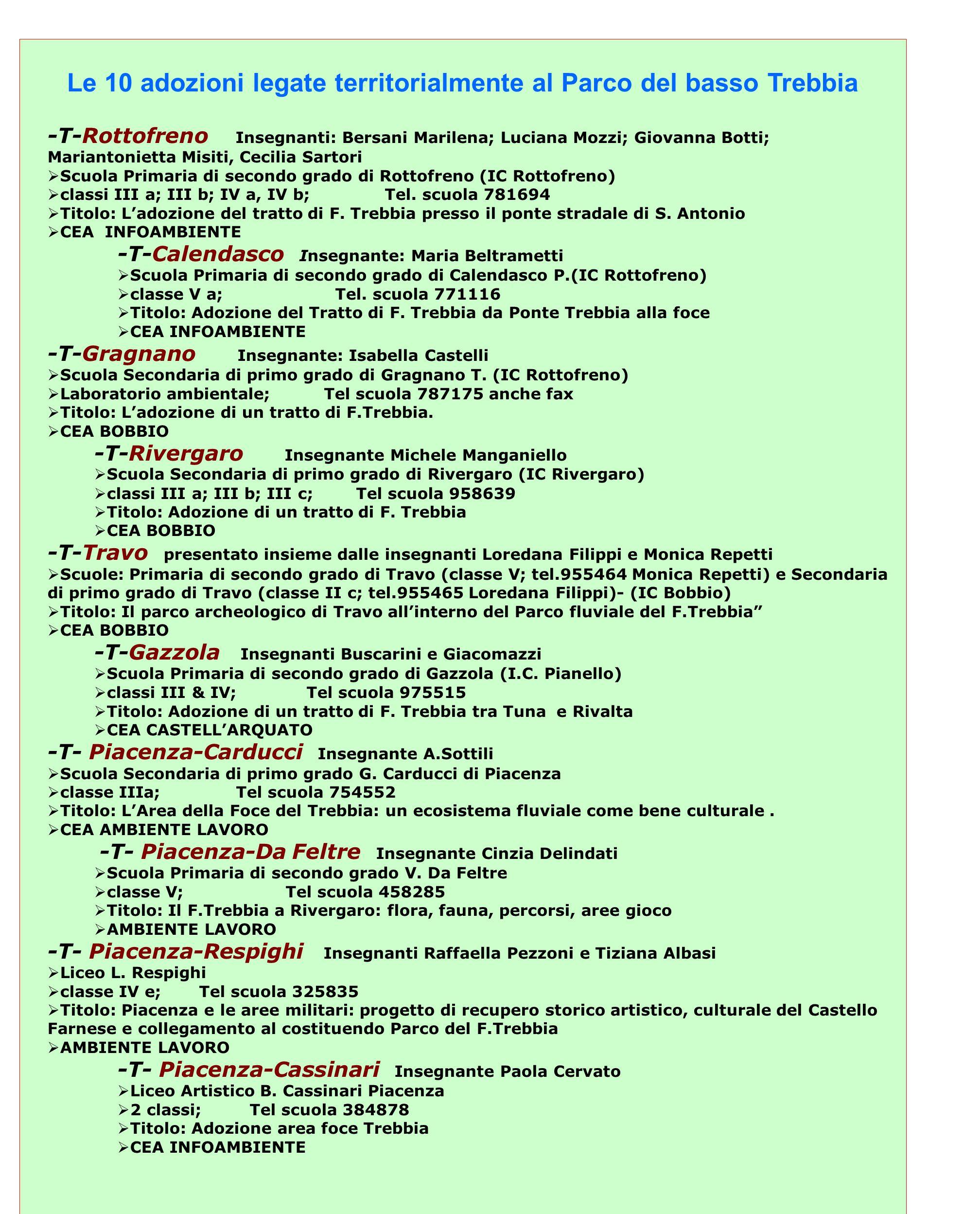 Le 10 adozioni legate territorialmente al Parco del basso Trebbia -T-Rottofreno Insegnanti: Bersani Marilena; Luciana Mozzi; Giovanna Botti; Marianton