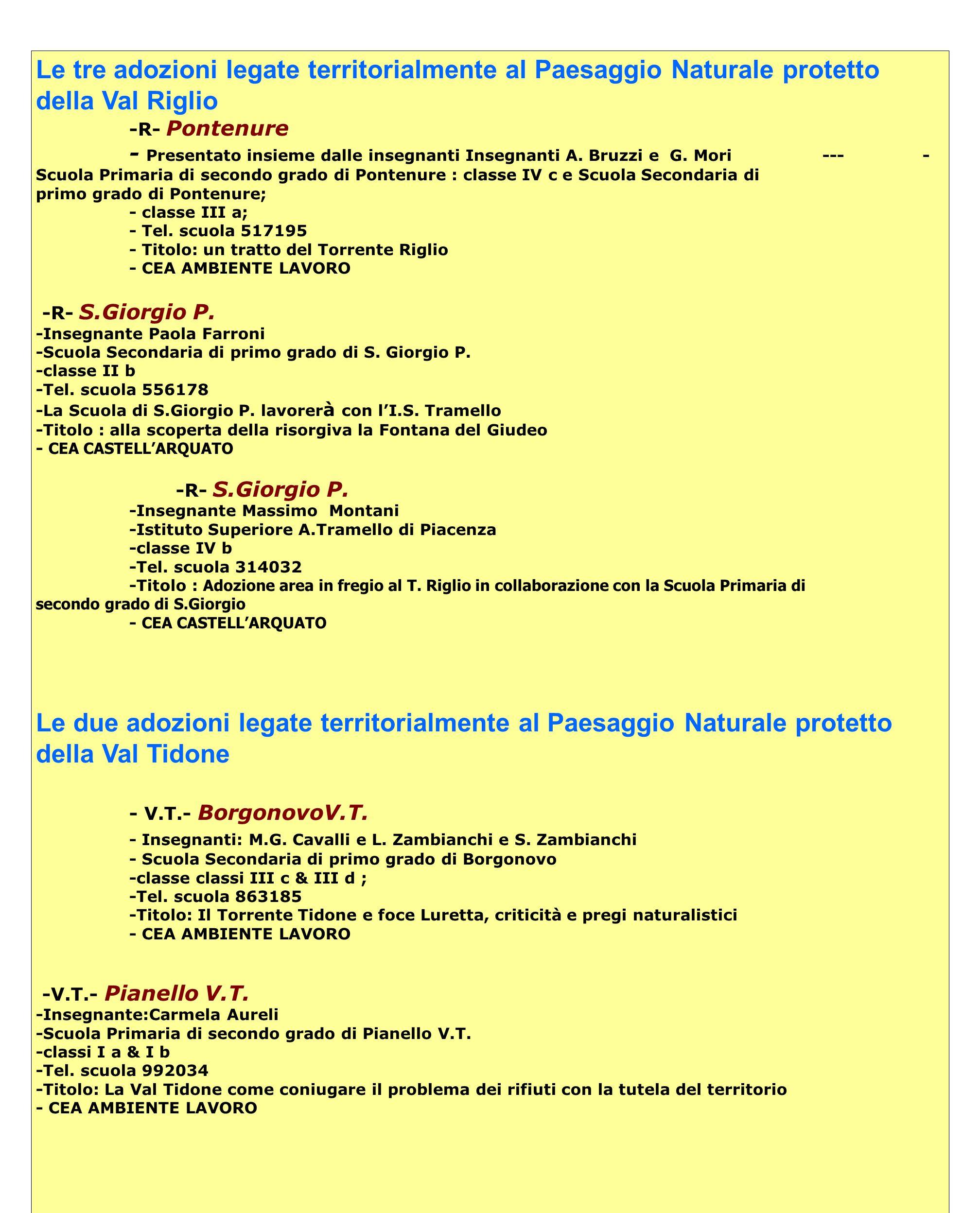 Le tre adozioni legate territorialmente al Paesaggio Naturale protetto della media Val dArda - MVA - Fiorenzuola - Insegnante Elena Pasquali - Scuola Primaria di secondo grado di Fiorenzuola (classi prime ) e Scuola Secondaria di primo grado di Fiorenzuola (classi seconde) -tel&fax scuola: 983235 - Titolo: Il torrente Arda e i fontanili di Fiorenzuola -CEA FIORENZUOLA -R- Liceo Mattei Fiorenzuola - Insegnante Annella Zoppi - Scuola Liceo Mattei di Fiorenzuola -classe II b -Tel.