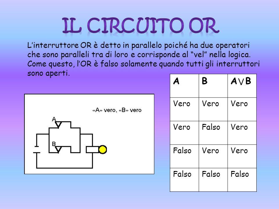 Linterruttore OR è detto in parallelo poiché ha due operatori che sono paralleli tra di loro e corrisponde al vel nella logica.