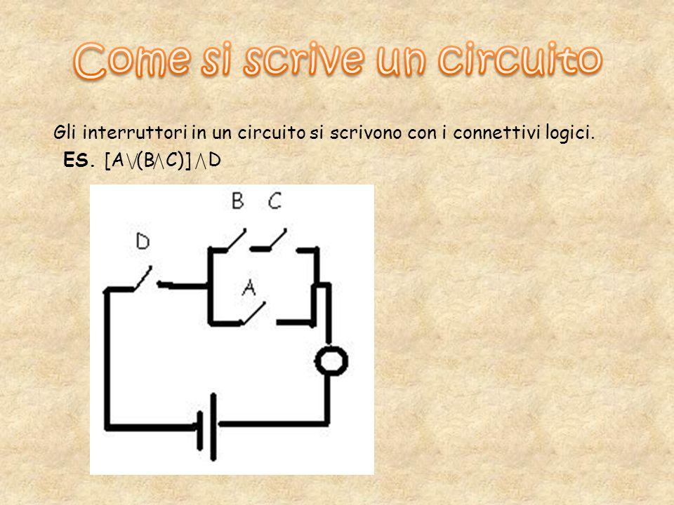 Gli interruttori in un circuito si scrivono con i connettivi logici. ES. [A (B C)] D