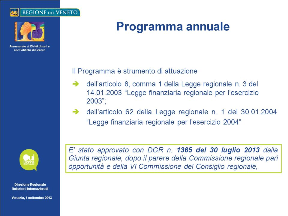 Assessorato ai Diritti Umani e alle Politiche di Genere Direzione Regionale Relazioni Internazionali Venezia, 4 settembre 2013 Programma annuale Il Pr