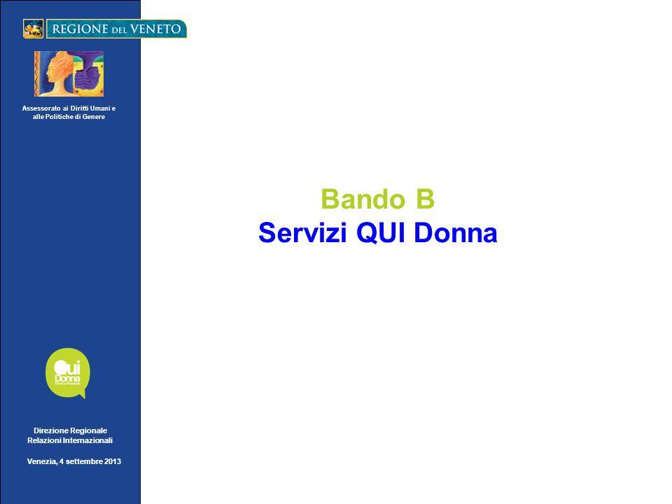 Assessorato ai Diritti Umani e alle Politiche di Genere Direzione Regionale Relazioni Internazionali Venezia, 4 settembre 2013 Bando B Servizi QUI Donna