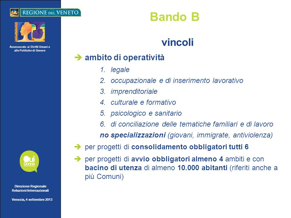 Assessorato ai Diritti Umani e alle Politiche di Genere Direzione Regionale Relazioni Internazionali Venezia, 4 settembre 2013 Bando B vincoli ambito