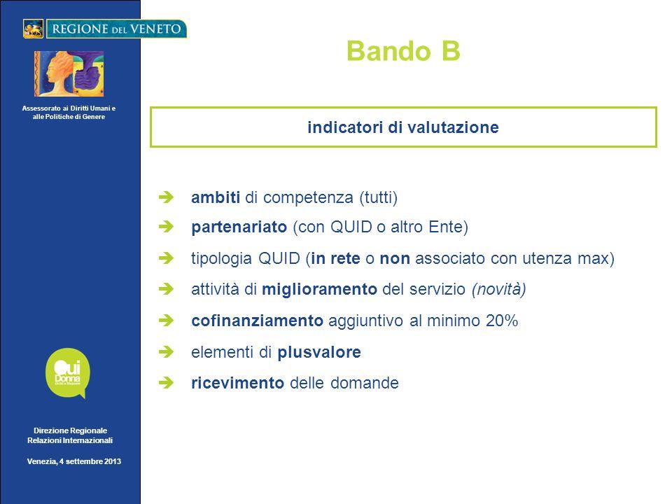 Assessorato ai Diritti Umani e alle Politiche di Genere Direzione Regionale Relazioni Internazionali Venezia, 4 settembre 2013 Bando B ambiti di compe