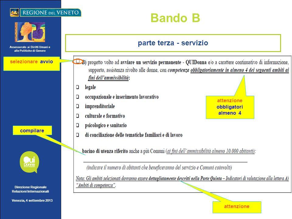 Assessorato ai Diritti Umani e alle Politiche di Genere Direzione Regionale Relazioni Internazionali Venezia, 4 settembre 2013 Bando B compilare atten