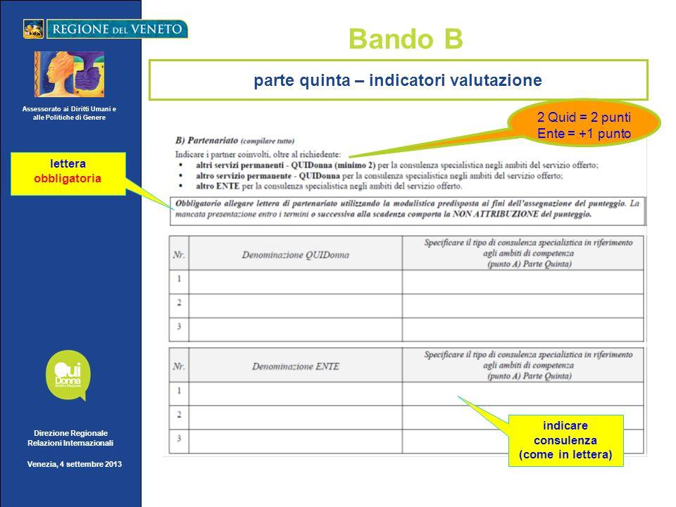 Assessorato ai Diritti Umani e alle Politiche di Genere Direzione Regionale Relazioni Internazionali Venezia, 4 settembre 2013 Bando B 1 QUID =1 punto