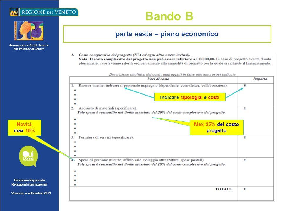 Assessorato ai Diritti Umani e alle Politiche di Genere Direzione Regionale Relazioni Internazionali Venezia, 4 settembre 2013 Bando B Indicare tipolo