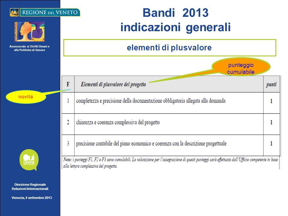 Assessorato ai Diritti Umani e alle Politiche di Genere Direzione Regionale Relazioni Internazionali Venezia, 4 settembre 2013 novità punteggio cumula
