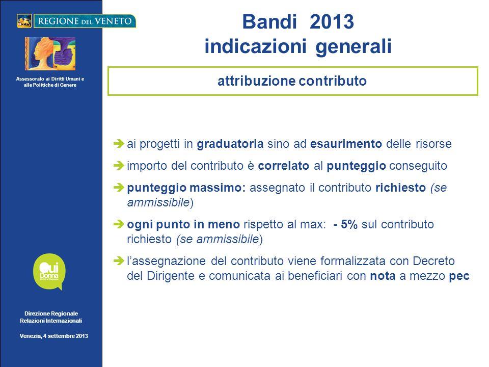 Assessorato ai Diritti Umani e alle Politiche di Genere Direzione Regionale Relazioni Internazionali Venezia, 4 settembre 2013 ai progetti in graduato