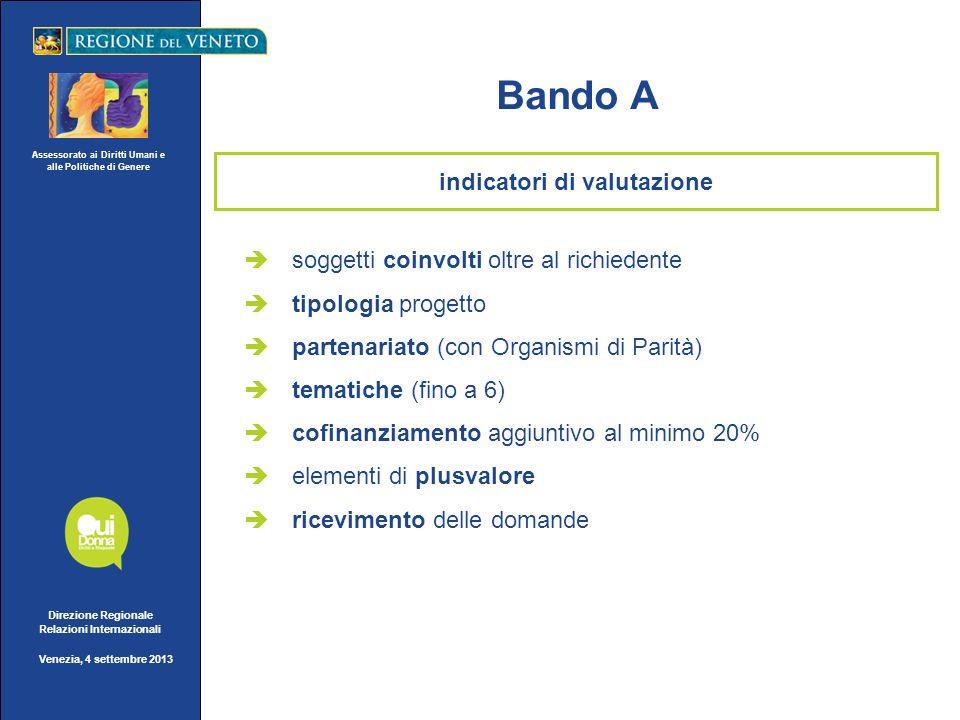 Assessorato ai Diritti Umani e alle Politiche di Genere Direzione Regionale Relazioni Internazionali Venezia, 4 settembre 2013 indicatori di valutazio