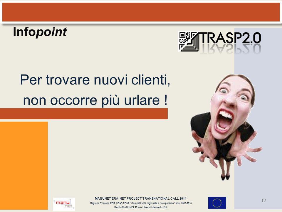 12 MANUNET ERA-NET PROJECT TRANSNATIONAL CALL 2011 Regione Toscana POR CReO FESR Competitività regionale e occupazione anni 2007-2013 Bando MANUNET 20