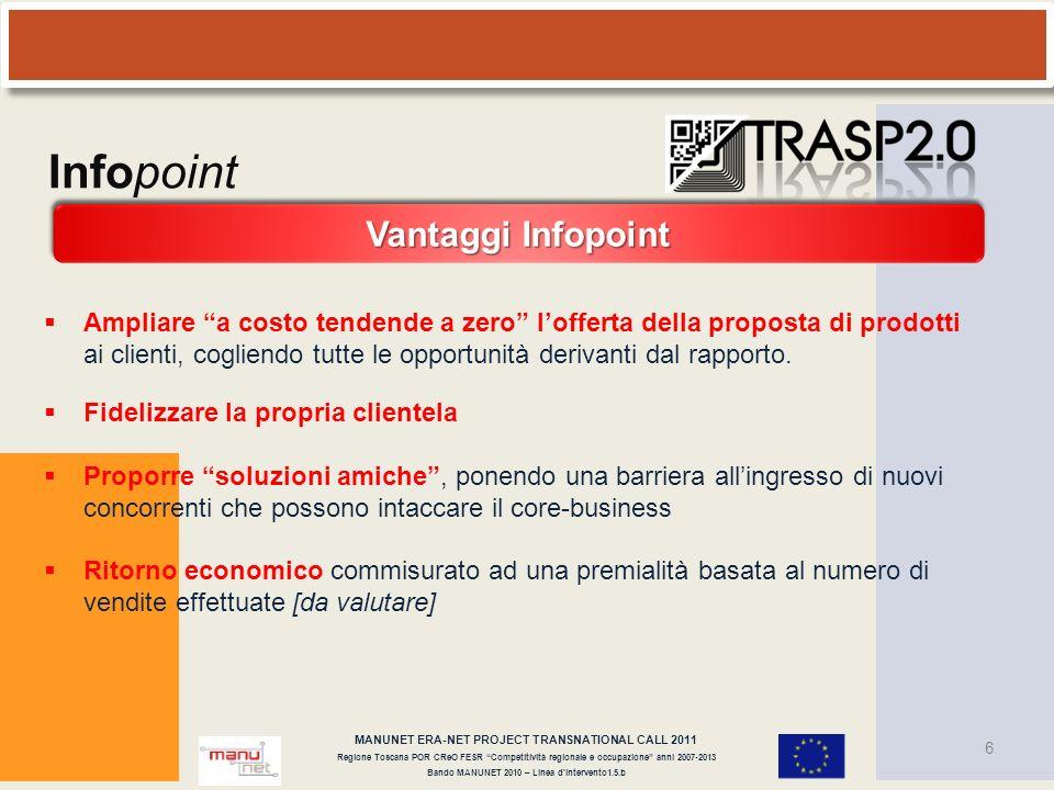 MANUNET ERA-NET PROJECT TRANSNATIONAL CALL 2011 Regione Toscana POR CReO FESR Competitività regionale e occupazione anni 2007-2013 Bando MANUNET 2010 – Linea d intervento1.5.b 17 Infopoint .