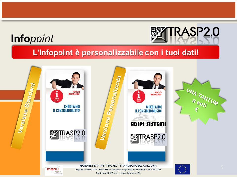 9 LInfopoint è personalizzabile con i tuoi dati! UNA TANTUM a soli Versione Standard Versione Personalizzata MANUNET ERA-NET PROJECT TRANSNATIONAL CAL