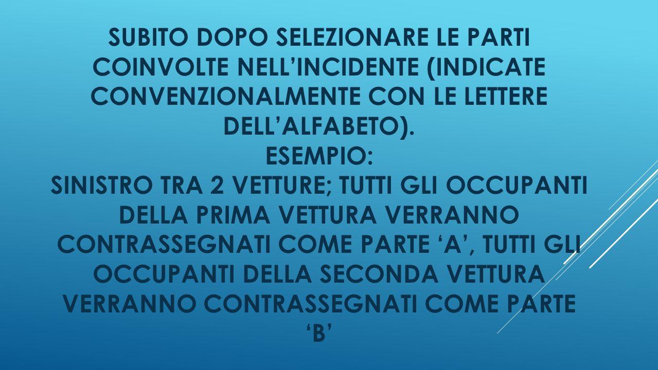 SUBITO DOPO SELEZIONARE LE PARTI COINVOLTE NELLINCIDENTE (INDICATE CONVENZIONALMENTE CON LE LETTERE DELLALFABETO).
