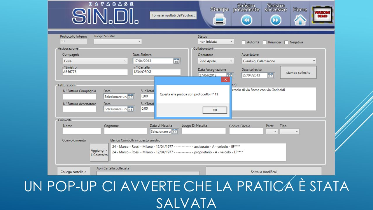 UN POP-UP CI AVVERTE CHE LA PRATICA È STATA SALVATA
