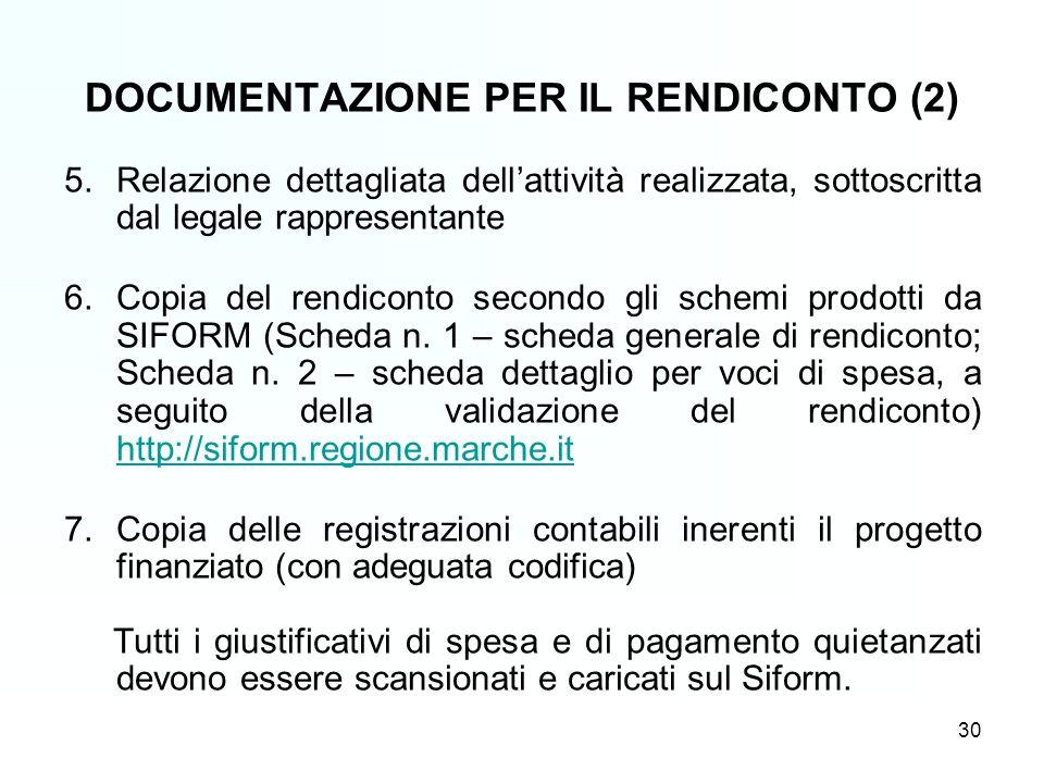 30 5.Relazione dettagliata dellattività realizzata, sottoscritta dal legale rappresentante 6.Copia del rendiconto secondo gli schemi prodotti da SIFORM (Scheda n.