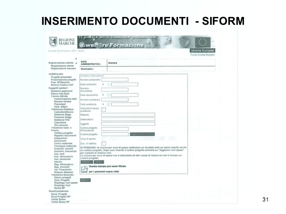 31 INSERIMENTO DOCUMENTI - SIFORM