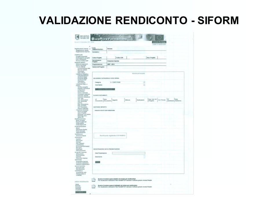 VALIDAZIONE RENDICONTO - SIFORM