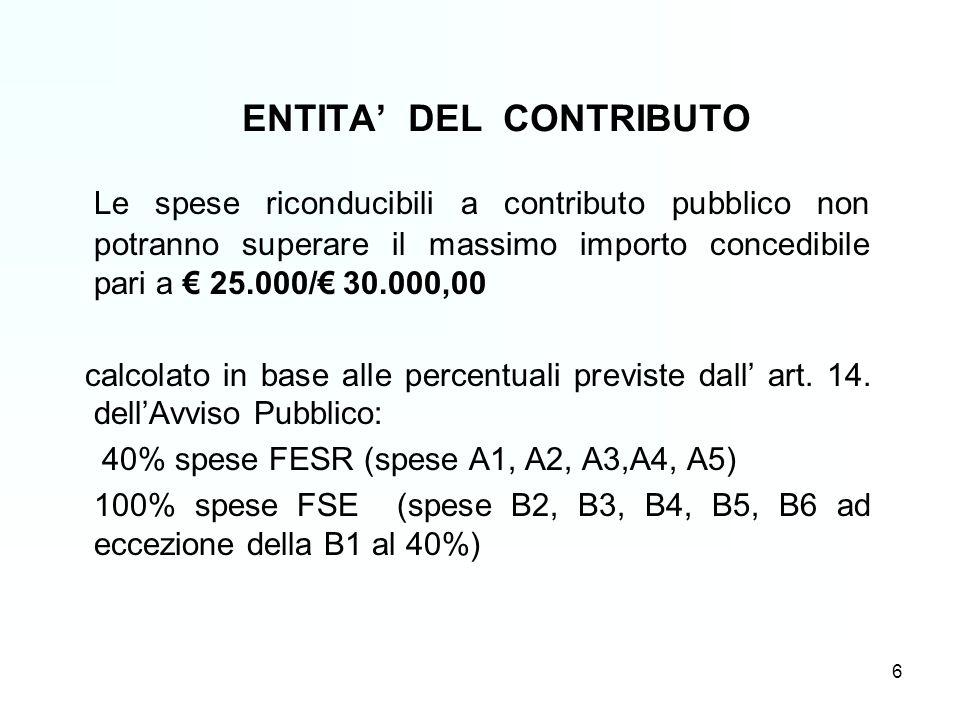 6 ENTITA DEL CONTRIBUTO Le spese riconducibili a contributo pubblico non potranno superare il massimo importo concedibile pari a 25.000/ 30.000,00 calcolato in base alle percentuali previste dall art.
