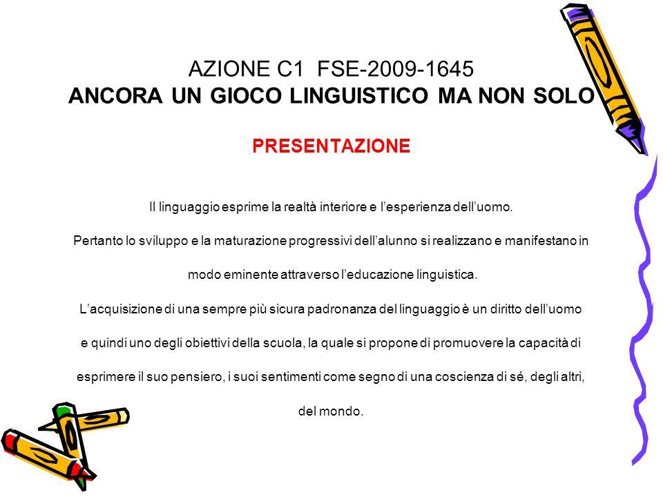 AZIONE C1 FSE-2009-1645 ANCORA UN GIOCO LINGUISTICO MA NON SOLO PRESENTAZIONE Il linguaggio esprime la realtà interiore e lesperienza delluomo. Pertan